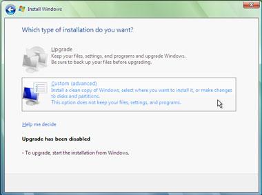 Truco Instalar Windows Vista Modo instalación